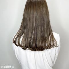コントラストハイライト 透明感カラー ヌーディベージュ セミロング ヘアスタイルや髪型の写真・画像