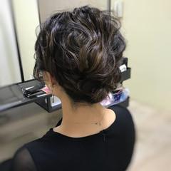 ミディアム フェミニン お呼ばれヘア ヘアアレンジ ヘアスタイルや髪型の写真・画像