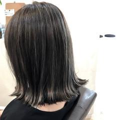 ハイライト ボブ アッシュ 暗髪 ヘアスタイルや髪型の写真・画像