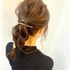 ポニーテール ナチュラル 簡単ヘアアレンジ パーティー ヘアスタイルや髪型の写真・画像
