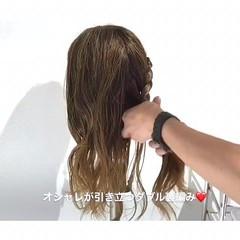 梅雨 デート フェミニン ヘアアレンジ ヘアスタイルや髪型の写真・画像