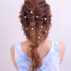パーマ ショート ハーフアップ ピュア ヘアスタイルや髪型の写真・画像