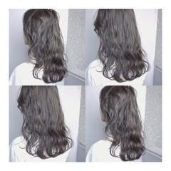 ストリート ロング ハイライト グレーアッシュ ヘアスタイルや髪型の写真・画像