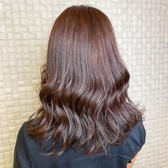 透明感カラー ミディアム 艶髪 ピンクベージュ ヘアスタイルや髪型の写真・画像