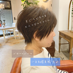暗髪 ハンサムショート エレガント オフィス ヘアスタイルや髪型の写真・画像
