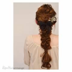 三つ編み 大人かわいい 結婚式 ヘアアレンジ ヘアスタイルや髪型の写真・画像