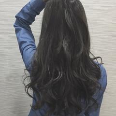 ブルー ロング ガーリー ブルーアッシュ ヘアスタイルや髪型の写真・画像