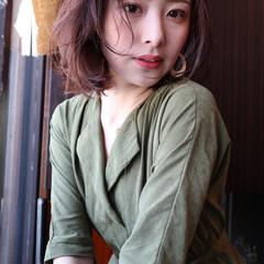 簡単ヘアアレンジ ボブ ナチュラル パーマ ヘアスタイルや髪型の写真・画像