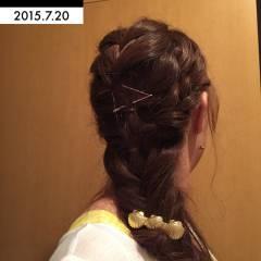 ヘアアレンジ 編み込み ヘアピン フィッシュボーン ヘアスタイルや髪型の写真・画像