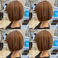 ミニボブ 切りっぱなしボブ 韓国ヘア 髪質改善トリートメント ヘアスタイルや髪型の写真・画像