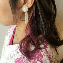パープル インナーカラー ミディアム ストリート ヘアスタイルや髪型の写真・画像