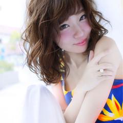 ゆるふわ 大人かわいい 夏 ミディアム ヘアスタイルや髪型の写真・画像