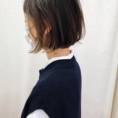 グラデーションカラー ナチュラル 切りっぱなしボブ インナーカラー ヘアスタイルや髪型の写真・画像