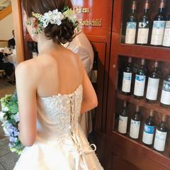 フェミニン ヘアセット 結婚式 アップ ヘアスタイルや髪型の写真・画像