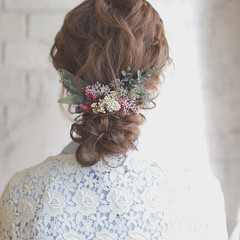 結婚式 夏 パーティ ミディアム ヘアスタイルや髪型の写真・画像