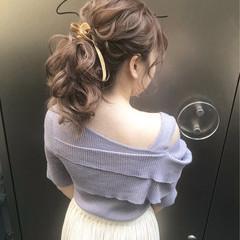 結婚式 ポニーテール セミロング ヘアアレンジ ヘアスタイルや髪型の写真・画像