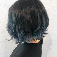 透明感 ボブ モード ネイビー ヘアスタイルや髪型の写真・画像