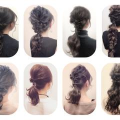 セミロング 夏 ショート 簡単ヘアアレンジ ヘアスタイルや髪型の写真・画像