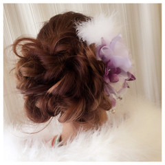 ヘアアレンジ 編み込み 成人式 ゆるふわ ヘアスタイルや髪型の写真・画像
