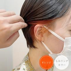 ベリーショート ガーリー オレンジ ショートヘア ヘアスタイルや髪型の写真・画像