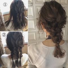 セミロング 簡単ヘアアレンジ ヘアアレンジ デート ヘアスタイルや髪型の写真・画像