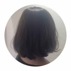 ボブ ナチュラル ラベンダーアッシュ 丸顔 ヘアスタイルや髪型の写真・画像