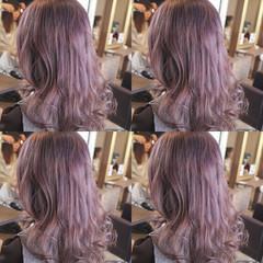 ラベンダーピンク ピンク フェミニン ストリート ヘアスタイルや髪型の写真・画像