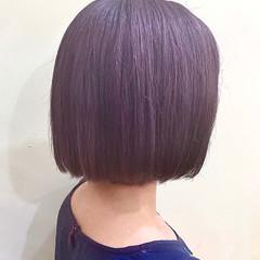 ラベンダー デザインカラー ミニボブ ショートボブ ヘアスタイルや髪型の写真・画像
