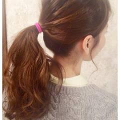 ポニーテール ヘアアレンジ ロング ハイライト ヘアスタイルや髪型の写真・画像