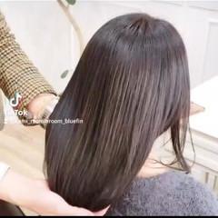 トリートメント 髪質改善 セミロング ナチュラル ヘアスタイルや髪型の写真・画像
