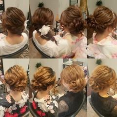 夏 編み込み セミロング お祭り ヘアスタイルや髪型の写真・画像