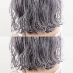 モード ボブ シルバーアッシュ ホワイトアッシュ ヘアスタイルや髪型の写真・画像