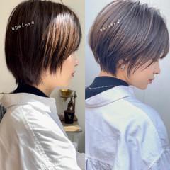 ハンサムショート ショートカット ミニボブ ショートヘア ヘアスタイルや髪型の写真・画像
