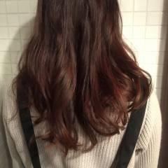 グラデーションカラー ダブルカラー ピンク セミロング ヘアスタイルや髪型の写真・画像