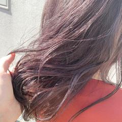 セミロング ダブルカラー ガーリー ラベンダーピンク ヘアスタイルや髪型の写真・画像
