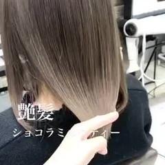 韓国ヘア グレージュ ストリート ミディアム ヘアスタイルや髪型の写真・画像