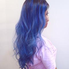 ハイライト グラデーションカラー ストリート パープル ヘアスタイルや髪型の写真・画像