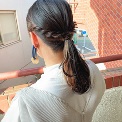 ストリート ハイトーンカラー セミロング 簡単ヘアアレンジ ヘアスタイルや髪型の写真・画像