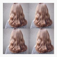 ストリート 波ウェーブ ピンク ロング ヘアスタイルや髪型の写真・画像