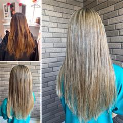 最新トリートメント 髪質改善カラー 3Dハイライト セミロング ヘアスタイルや髪型の写真・画像