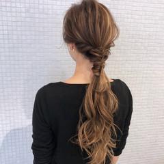 モード ロング ポニーテール 簡単ヘアアレンジ ヘアスタイルや髪型の写真・画像
