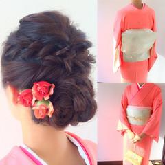 セミロング ヘアアレンジ 和装 二次会 ヘアスタイルや髪型の写真・画像