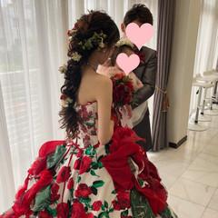 ヘアアレンジ 編みおろし 結婚式 フェミニン ヘアスタイルや髪型の写真・画像
