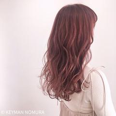 ピンク おフェロ ラベンダー ハイライト ヘアスタイルや髪型の写真・画像