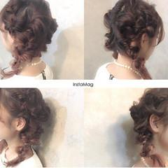 ヘアアレンジ パーティ ガーリー 編み込み ヘアスタイルや髪型の写真・画像