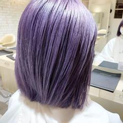 デザインカラー 切りっぱなしボブ ラベンダーカラー パープルカラー ヘアスタイルや髪型の写真・画像