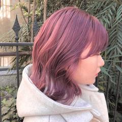 ハイトーンカラー ボブ ハイライト バレイヤージュ ヘアスタイルや髪型の写真・画像