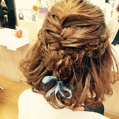 結婚式 ハーフアップ 二次会 ヘアアレンジ ヘアスタイルや髪型の写真・画像