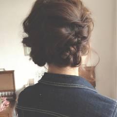 くるりんぱ 編み込み ヘアアレンジ ボブ ヘアスタイルや髪型の写真・画像