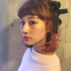 ミディアム フェミニン 暗髪 外国人風 ヘアスタイルや髪型の写真・画像